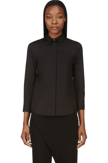 Calvin Klein Collection - Black Poplin & Sheer Georgette Blouse