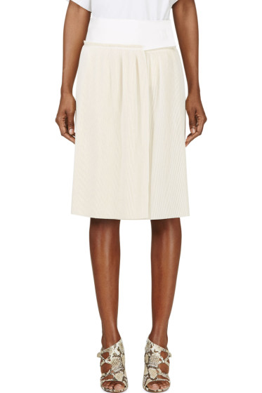 Calvin Klein Collection - Beige Spun Silk Micro Pleated Vives Wrap Skirt