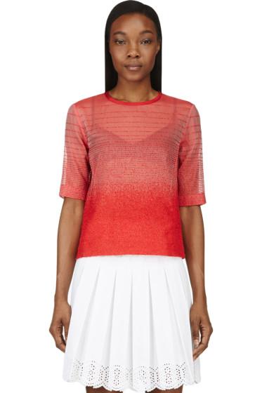 Ostwald Helgason - Red Organza Gradient Bouclé T-Shirt