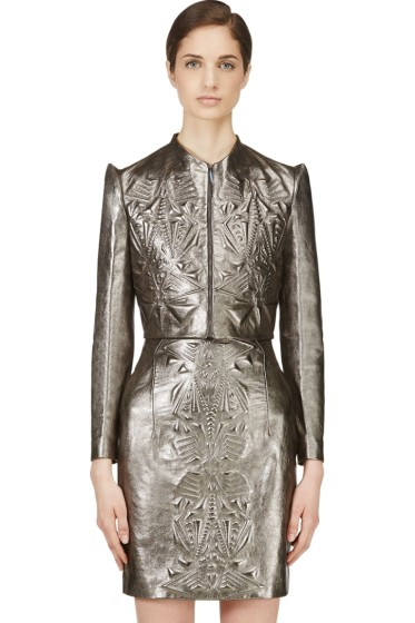 Iris van Herpen - Pewter Cropped Embossed Leather Jacket