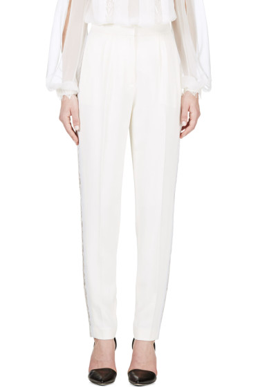 Zuhair Murad - Ivory Lace Trim Trousers