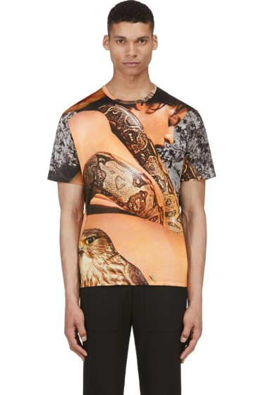 Richard Nicoll - Tan & Grey Layered Snake Graphic T-Shirt