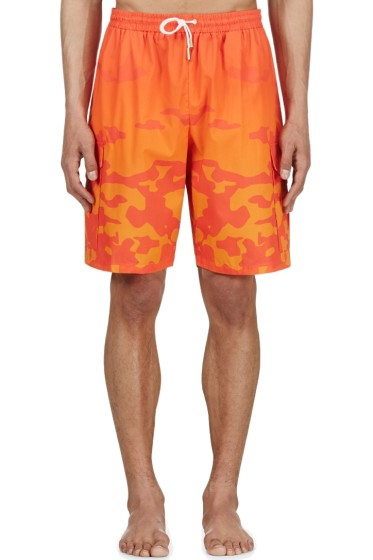 Katie Eary - Orange Sunset Camo Swim Shorts