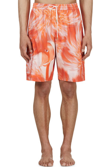 Katie Eary - Pink Flamingo Feather Swim Shorts