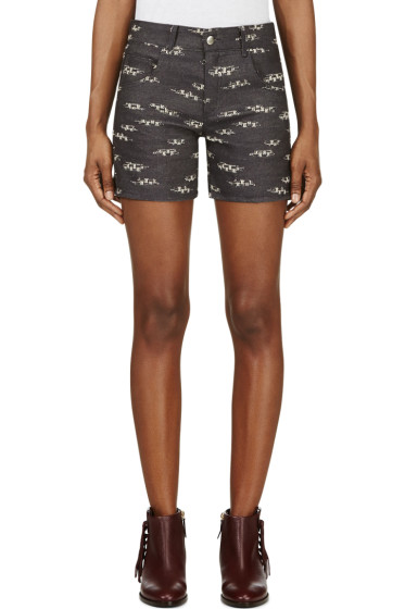 Roseanna - Navy Jacquard Denim Shorts