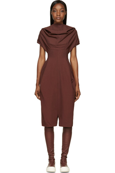 Rick Owens - Burgundy Cowled Bodybag Jumpsuit