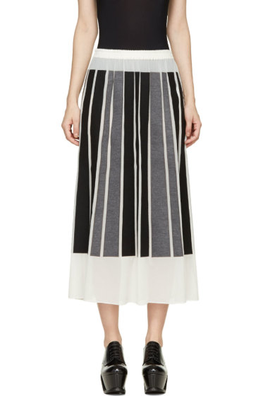 Viktor & Rolf - Ivory Silk Gorgette Black & Grey Paneled Skirt