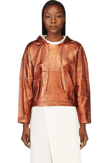 3.1 Phillip Lim - Copper Leather Cropped Poncho Sweatshirt
