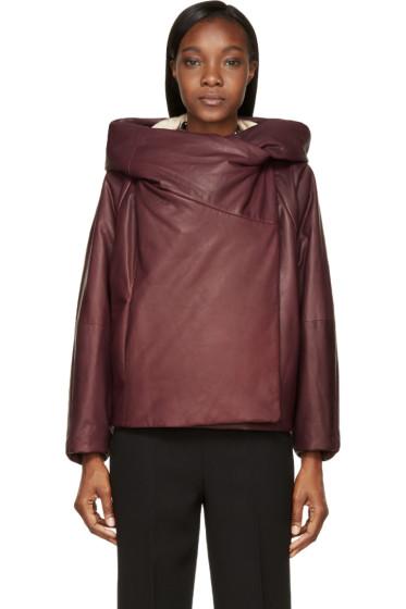 Chloé - Plum Insulated Hooded Calfskin Jacket