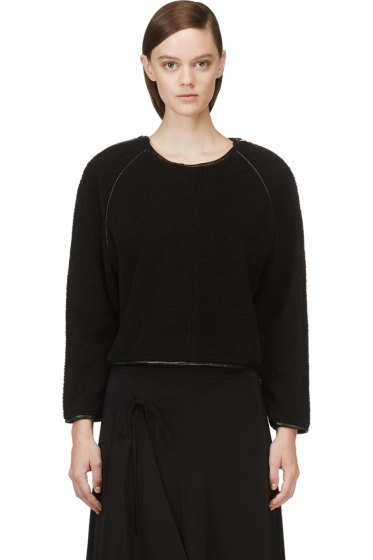 Avelon - Black Leather Trim Fleece-Textured Sweater