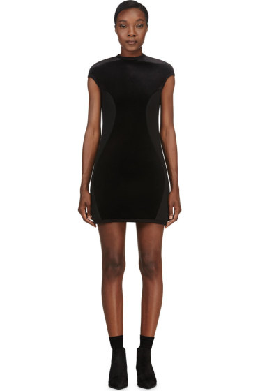 Denis Gagnon - SSENSE Exclusive Black Velvet & Neoprene Dress