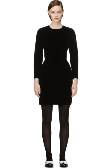 Saint Laurent - Black Velour Beaded Mesh Cutout Dress