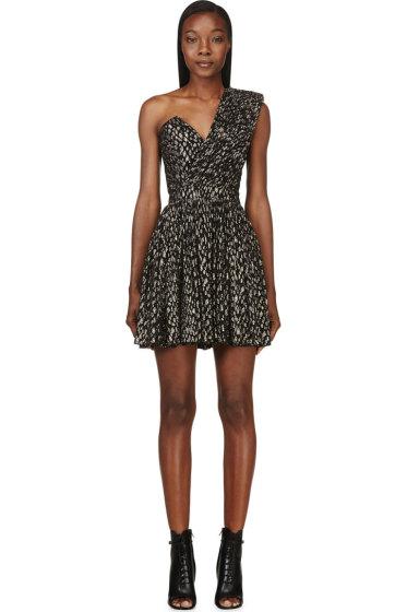 Saint Laurent - Black & Silver One-Shoulder Bustier Dress