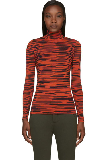 Stella McCartney - Black & Orange Irregular Stripe Turtleneck