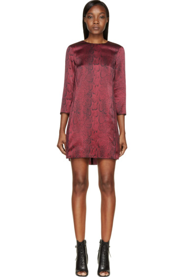 Nina Ricci - Burgundy Silk Python Print Short Dress