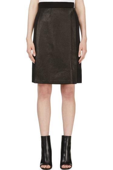 Calvin Klein Collection - Black Leather Panel Nousha Wrap Skirt