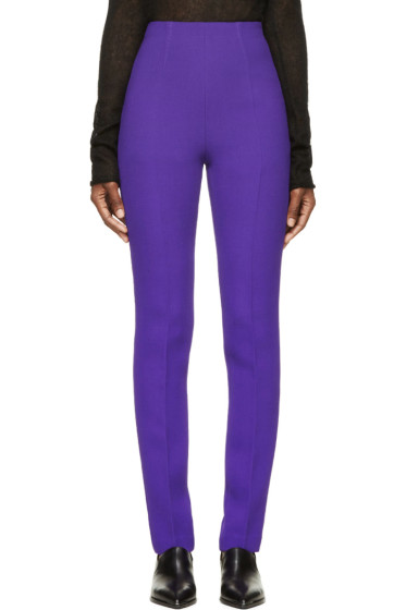 Costume National - Purple High-Waisted Wool Trousers