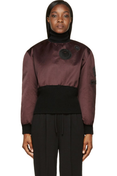 Yang Li - Purple Patched Satin Back To Front MA-1 Turtleneck