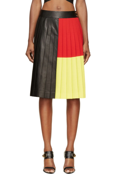 Fausto Puglisi - Black Colorblocked Pleated Leather Skirt