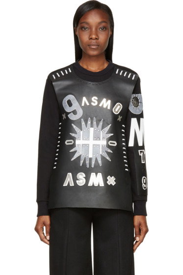 Anne Sofie Madsen - Black Patchwork Leather Dark Sun Sweater