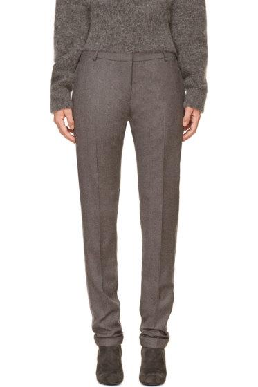 Richard Nicoll - Grey Grosgrain Trim Wool Trousers
