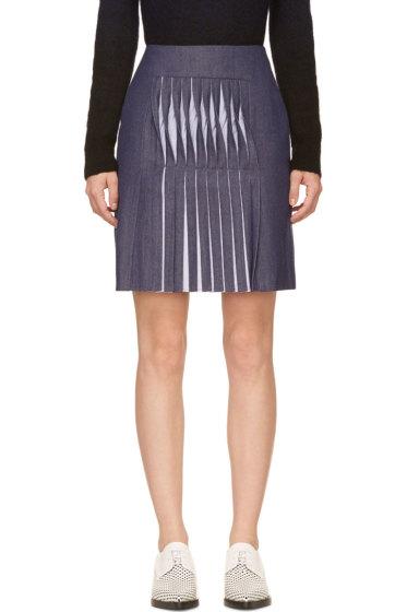 Richard Nicoll - Blue Twill Twist Pleat Skirt