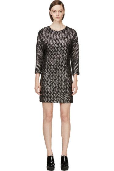 Jay Ahr - Black & Silver Metallic Tweed Dress