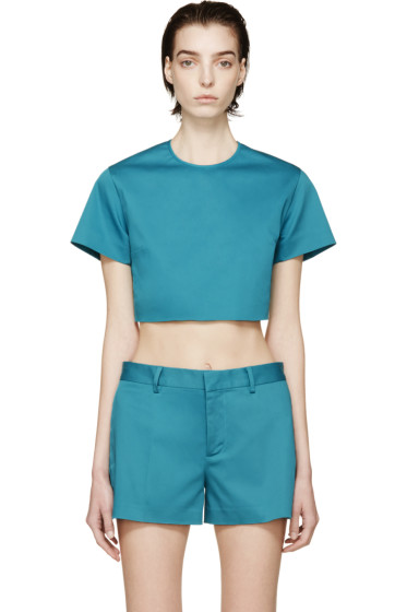 Dsquared2 - Peacock Blue Twill Crop Top