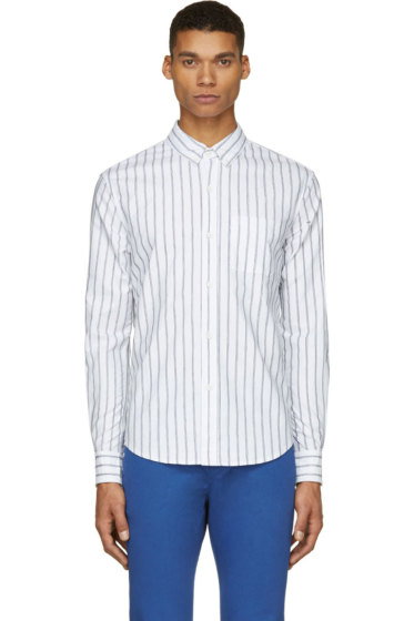 Band of Outsiders - White & Blue Pinstriped Logo Shirt