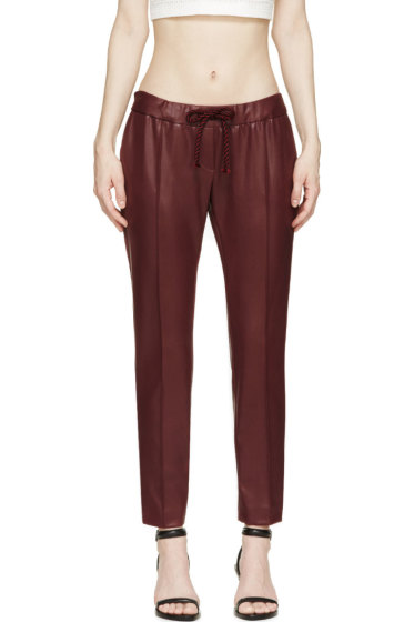 Christopher Kane - Burgundy Coated Slim Trousers