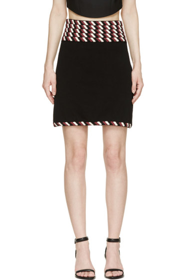 Christopher Kane - Black Striped Rope Trim Skirt