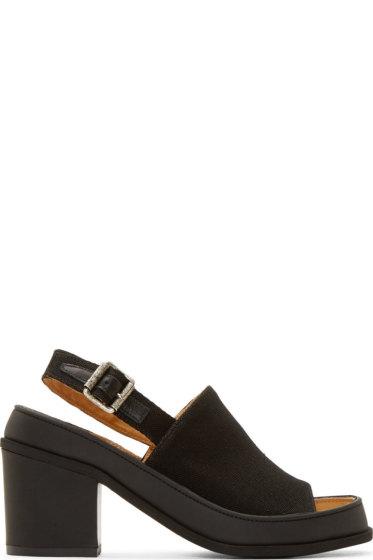MM6 Maison Margiela - Black Canvas Sling Back Heels