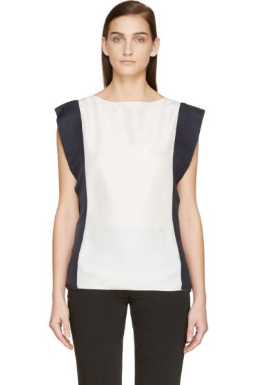 Lanvin - White & Navy Silk Blouse