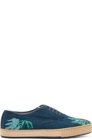 Paul Smith - Blue Lady Bug Cross Stitch Shoes