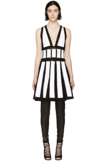 Givenchy - Black & White Studded Crochet Dress