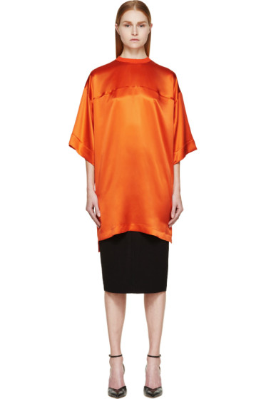 Givenchy - Coral Satin Short Sleeve Jersey Tunic