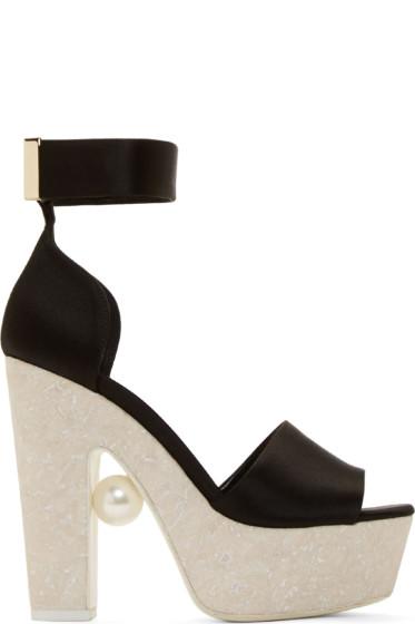 Nicholas Kirkwood - Black Satin Pearl Platform Sandals