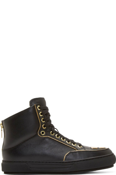 Alejandro Ingelmo - Black Leather Gold Trimmed Jeddi High-Tops