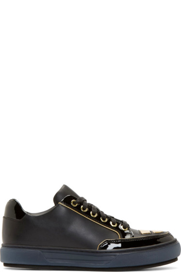 Alejandro Ingelmo - Black Leather Gold Trimmed Jeddi Sneakers