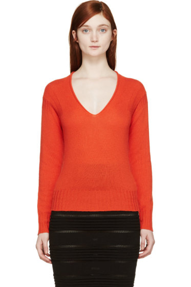 Burberry Prorsum - Orange Cashmere V-Neck Sweater