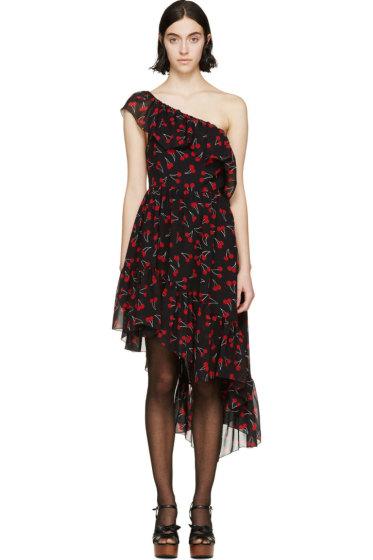 Saint Laurent - Black Silk Cherry Dress