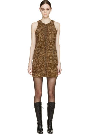 Saint Laurent - Tan & Brown Suede Leopard Shift Dress