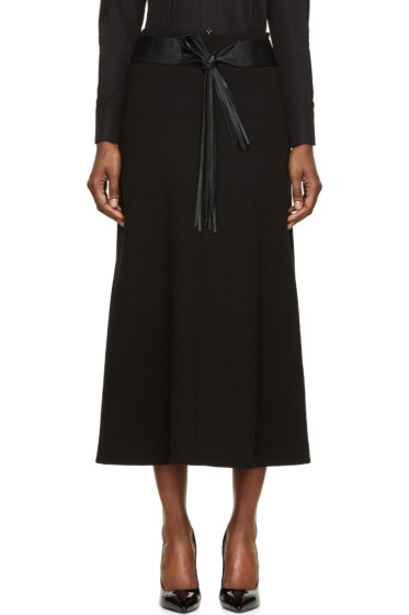 Saint Laurent - Black Wool Crêpe Fringe Belted Skirt