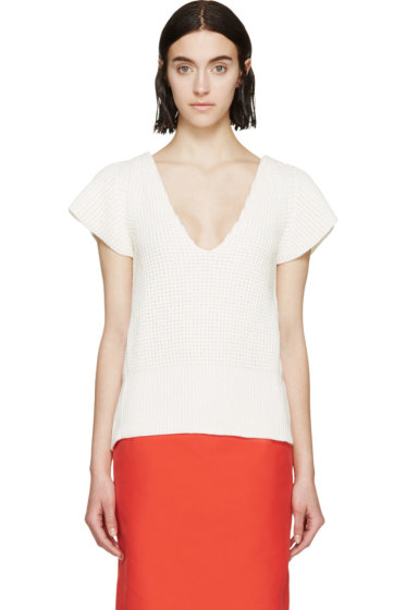 Nina Ricci - White Open-Back Knit Top