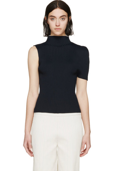 J.W. Anderson - Navy Ribbed Cocoon Top
