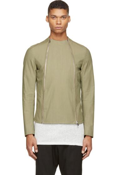 Thamanyah - Army Asymmetrical Zip Jacket
