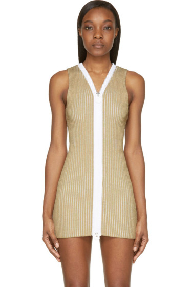Calvin Klein Collection - Beige Ribbed Knit Red Dress