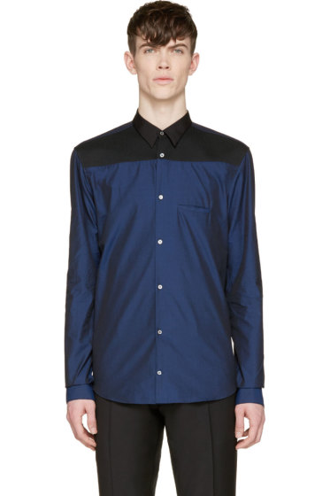 Costume National - Navy Colorblock Button-Up Shirt
