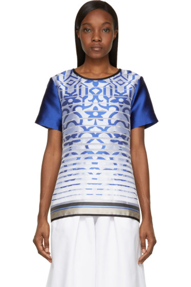 Ostwald Helgason - Royal Blue Satin Degraded Jacquard T-Shirt