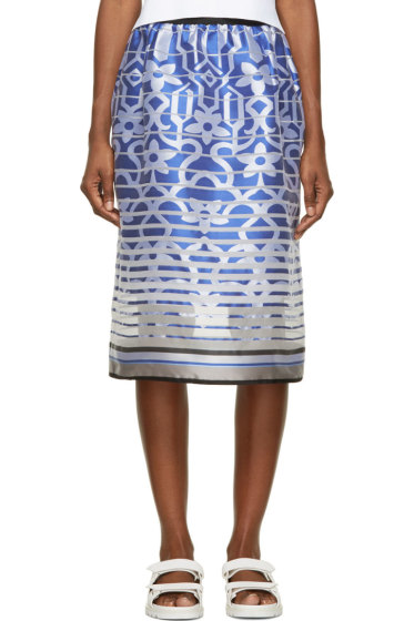Ostwald Helgason - Royal Blue Satin Degraded Jacquard Tea Skirt